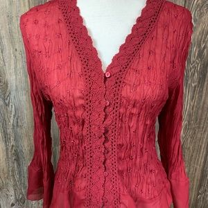 Sunny Leigh Tops - Sunny Leigh burgundy blouse